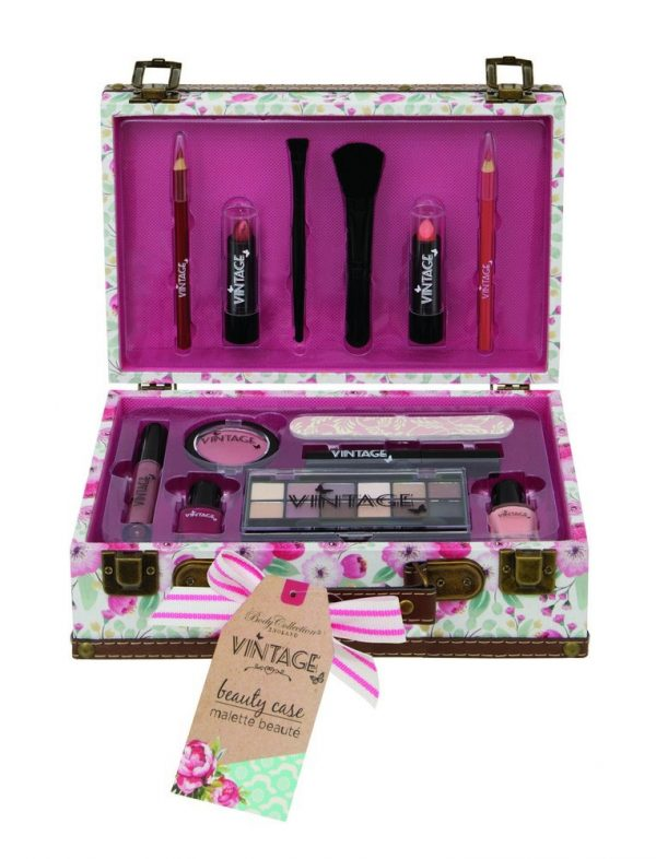 BODY COLLECTION - Maletín de maquillaje con cosméticos VINTAGE BEAUTY CASE